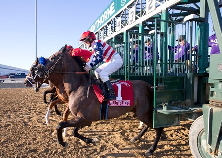 Multiplier leaving the starting gate in the Illinois Derby at Hawthorne Racecourse on 4/22/17.  James Graham up.