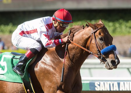 Collected wins the April 1 Santana Mile by 3 3/4 lengths at Santa Anita Park