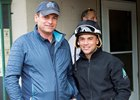 Chris Baccari (left) with jockey Joel Rosario