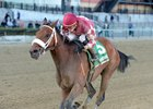 Mo' Green wins the April 2 Top Flight Invitational by 3 1/2 lengths