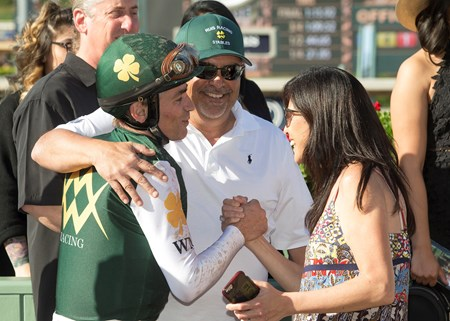 Brice Blanc celebrates his 1,000th win aboard Union Strike in the 2017 Santa Paula Stakes