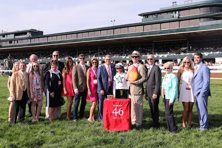 Todd Pletcher becomes Leading Trainer by stakes wins at Keeneland, presented to Assistant Trainer Ginny Depasquale by Keeneland President Bill Thomason, American Patriot wins the 2017 Make's 46 Mile (Grade I) with Javier Castellano up for trainer Todd Fletcher and owner WinStar Farm, 2017 Keeneland Spring Meet