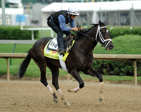 (April 28, 2017) Jockey John Velazquez takes a strong hold of Florida Derby winner ALWAY'S DREAMING Friday morning, before his 5 furlong work at Churchill Downs.