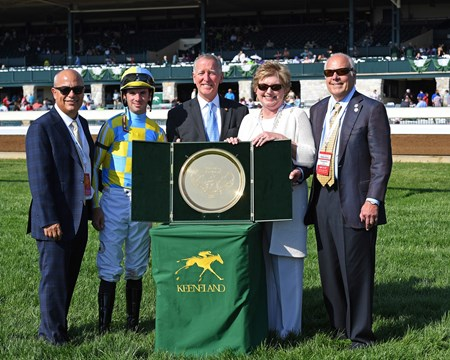 La Coronel represents the 8th graded stakes winner at Keeneland for the Oxleys (owners) so they were presented with a gold tray. L-r, Mark Casse, Florent Geroux, Bill Thomason, Debby and John Oxley.  La Coronel with Florent Geroux wins the Appalachian (G3) at Keeneland. April 13, 2017 Keeneland in Lexington, Ky.