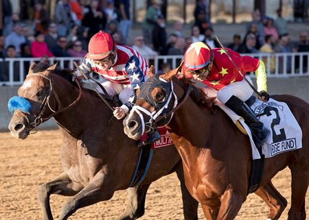 Multiplier (outside) runs down Hedge Fund to win the Illinois Derby