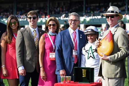 l-r, ?, ?  Mr. and Mrs. Kenny Troutt, Javier Castellano, and presenter. American Patriot with Javier Castellano wins Maker's 46 Mile (G1) at Keeneland. April 14, 2017 Keeneland in Lexington, Ky.