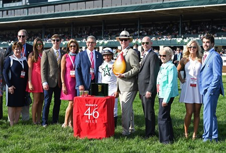l-r, Mr. and Mrs. Elliott Walden, ?, ?, Mr. and Mrs. Kenny Troutt, Javier Castellano, ???, Ginny DePasquale (third right/Pletcher), and Preston Troutt (far right). American Patriot with Javier Castellano wins Maker's 46 Mile (G1) at Keeneland. April 14, 2017 Keeneland in Lexington, Ky.