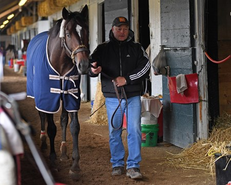 Ian Wilkes walking McCraken in shedrow after work. McCraken with Brian Hernandez Jr. at Keeneland on April 2, 2017
