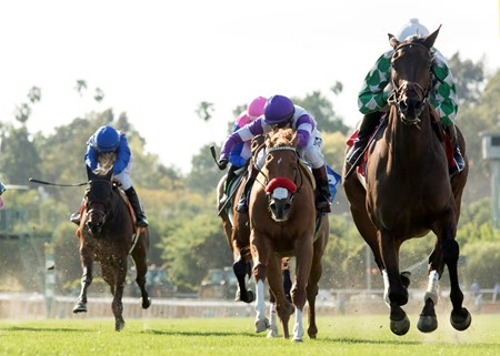 Joe L. Turner's Sircat Sally and jockey Mike Smith, right, win the Grade III, $150,000 Providencia Stakes, Saturday, April 8, 2017 at Santa Anita Park, Arcadia CA.