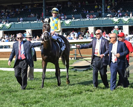 Walkin: l-r, David Carroll, John Oxley and Mark Casse. La Coronel with Florent Geroux wins the Appalachian (G3) at Keeneland. April 13, 2017 Keeneland in Lexington, Ky.