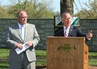 Bill Thomason announces major enhancements to the Keeneland September Yearling Sale as Bob Elliston looks on