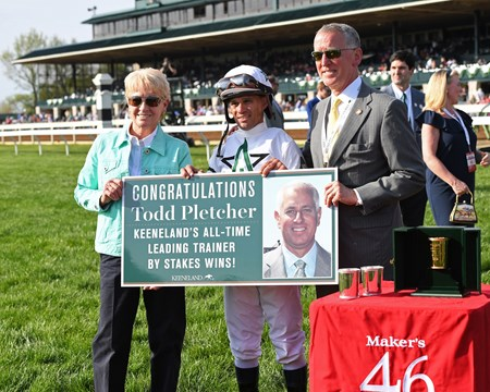 l-r, Ginny DePasquale, Javier Castellano, and Bill Thomason. American Patriot with Javier Castellano wins Maker's 46 Mile (G1) at Keeneland. April 14, 2017 Keeneland in Lexington, Ky.