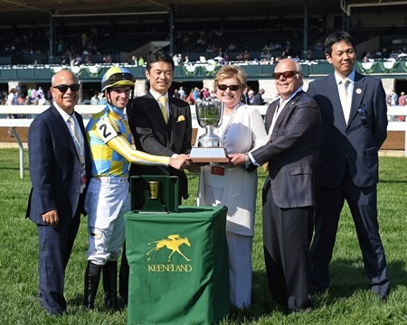 l-r, Mark Casse, Florent Geroux, JRA rep, Debby and John Oxley, JRA rep. La Coronel with Florent Geroux wins the Appalachian (G3) at Keeneland. April 13, 2017 Keeneland in Lexington, Ky.