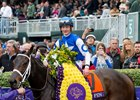 Tepin and jockey Julien Leparoux after winning the 2015 Breeders' Cup Mile