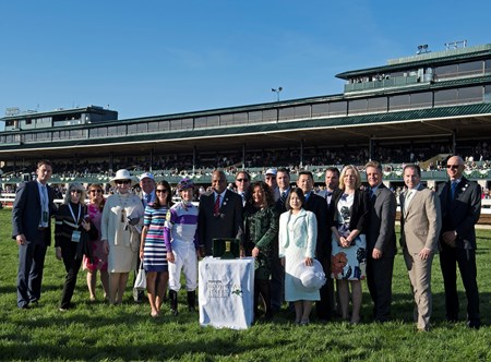 Jack Sisterson, left, Marie Jones (4th from right), Irap with Julien Leparoux wins the Blue Grass (G2) at Keeneland. April 8, 2017 Keeneland in Lexington, Ky.