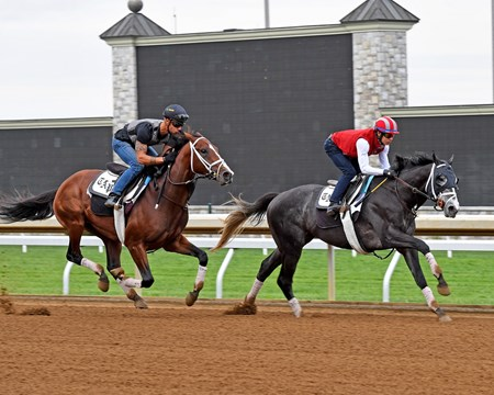 Tapwrit with Jose Ortiz Jr. (front) works with Wissam.