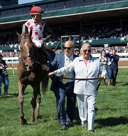 Mark Casse and Charlotte Weber walkin. Awesome Slew with Joel Rosario aboard wins The 31st Running of The Commonwealth (G3)   at Keeneland on April 8, 2017 Keeneland in Lexington, Ky.
