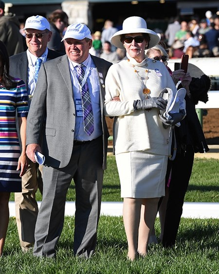 Breeder Mrs. Aaron (Marie) Jones with Frank Tayklor. Irap with Julien Leparoux wins the Blue Grass (G2) at Keeneland. April 8, 2017 Keeneland in Lexington, Ky.
