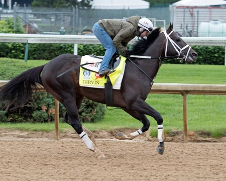 Girven Per #Derby notes:  Girvin tried out the new polyflex glue-on shoes he will wear in the race. Derby and Oaks contenders in the morning at Churchill Downbs  May 4, 2017 Churchill Downs in Louisville, Ky.