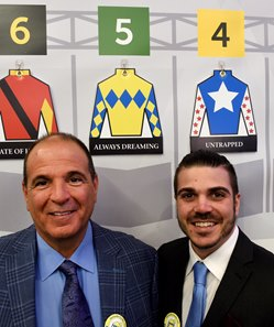 Anthony Bonomo Sr. with son Anthony Bonomo Jr. at the Kentucky Derby draw May 3 at Churchill Downs