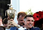 Vinnie Viola, with Kentucky Derby trophy