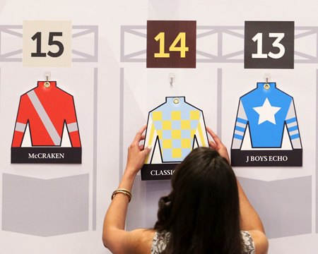 John Oxley's silks are placed on the draw board for the  143rd Kentucky Derby