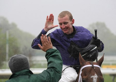 Jockey Trevor McCarthy reacts after notching his 1000th win in the Wolf Hill Stakes aboard Rainbow Heir on Opening Day at Monmouth Park in Oceanport, New Jersey May 13, 2017. Photo By Ryan Denver/EQUI-PHOTO May 13, 2017  in Oceanport, New Jersey.
