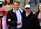 Marylou Whitney, John Hendrickson, Ian Wilkes, and Tracy Wilkes celebrate Bird Song's win