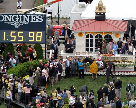 Cloud Computing in the winners' circle after the 142nd Running of the Preakness Stakes at Pimlico on May 20, 2017. Photo By: Chad B. Harmon