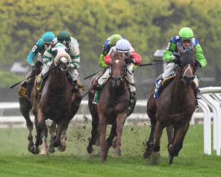 Hawksmoor with Julien Leparoux wins the Beagay (G3) at Belmont Park on May 13, 2017.