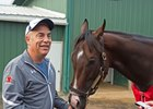 Mark Casse, pictured here with Classic Empire, said he is unable to predict when the champion colt might race again