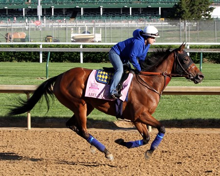 Abel Tasman on the track at Churchill Downs on May 2, 2017 preparing for the Kentucky Oaks.