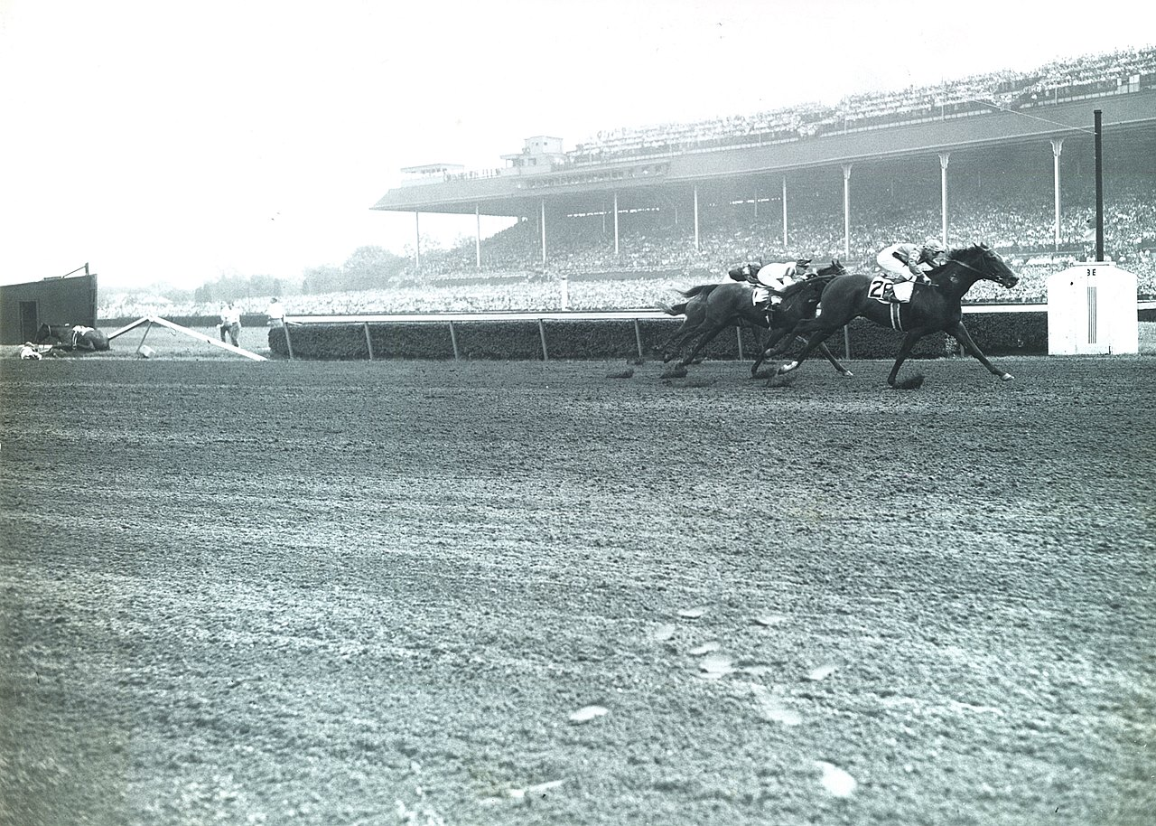 Silent toms atomizer features bloodhorse the 1945 futurity stakes saw maine chance farms juvenile starsboth trained by tom smithat opposite ends of the spectrumand this photo falaconquin