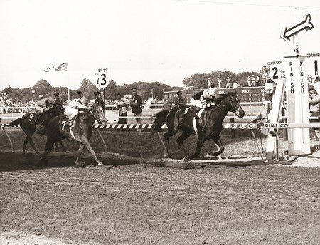 Seattle Slew wins by 1 1/2 lengths over Iron Constitution, no. 7, in 1977 Preakness Stakes.  Run Dusty Run, no. 9, finished third.