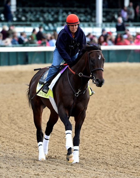 J Boys Echo gallops at Churchill Downs May 3, 2017 in Louisville, KY.
