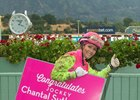 Jockey Chantal Sutherland celebrates her 1,000th victory, which came aboard Donald Valpredo's homebred Giro Candito