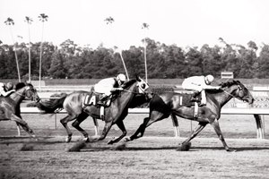 Gamely wins the Vanity Handicap at Hollywood Park in 1968