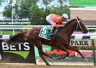 Tu Brutus wins the Flat Out Stakes at Belmont Park