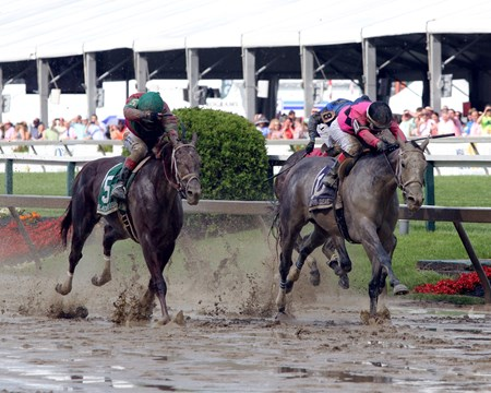 Actress (#10) with Nik Juarez win the 93rd Running of the Black-Eyed Susan over Lights of Medina (#5) with Fergal Lynch at Pimlico on May 19, 2017.