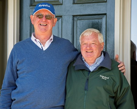 l-r, Mike Ryan and Gerrry Dilger. Above Perfection, dam of Always Dreaming, and breeders Mike Ryan and Gerry Dilger (Santa Rosa) at Dromoland Farm near Lexington.