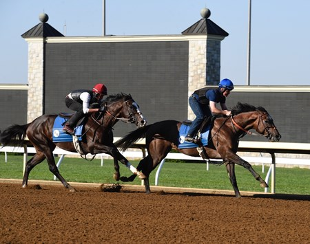 Illinois Derby winner Multiplier (front) works under trainer Brendan P. Walsh