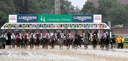 Abel Tasman breaks the gate in the 143rd running of the Kentucky Oaks May 5, 2017 at Churchill Downs in Louisville, Kentucky.
