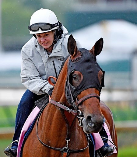 Dana Barnes goes out for morning exercise with filly Abel Tasman Wednesday morning May 4, 2017 in preparation for tomorrow's running of the Kentucky Oaks at Churchill Downs in Louisville, Kentucky.