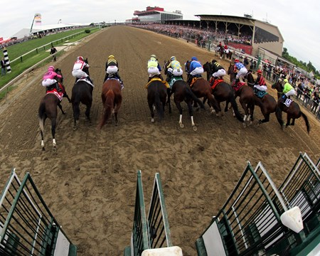 The start of the 142nd Preakness Stakes at Pimlico on May 20, 2017.