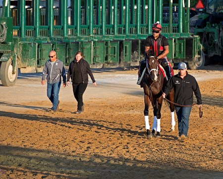 Norm Casse leads Classic Empire with Martin Rivera to the track. on left, l-r, Mark Casse and Sarah Campion. Preakness contenders at Pimlico.  May 17, 2017