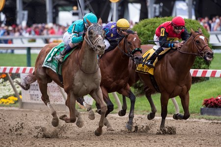 Whitmore (outside) catches A. P. Indian (rail) to win the Maryland Sprint Stakes