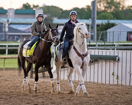 Girvin with Rosie Napravnik Derby and Oaks contenders in the morning at Churchill Downs  May 3, 2017
