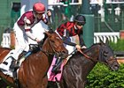 Beach Patrol (inside) narrowly missed in the Woodford Reserve Turf Classic behind by Divisidero