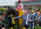 Cloud Computing with jockey Javier Castellano enters the winner's circle with owner Seth Karman, center and trainer Chad Brown right after winning the 142nd running of the Preakness Stakes Saturday May 20, 2017 at Pimlico Race Course in Baltimore, MD.  Photo by Skip Dickstein