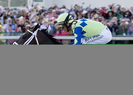 Always Dreaming and John Velazquez leading the field around the final turn in the Kentucky Derby on Saturday, May 6th, 2017 at Churchill Downs.